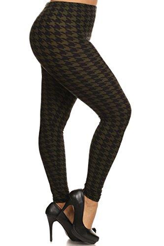 Leggings Depot NEW ARRIVALS Women's Popular BEST Printed Plus Fashion Leggings Batch3 (Olive Houndstooth)