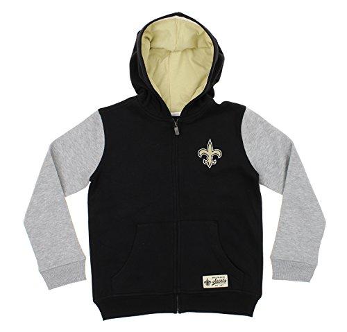 Outerstuff New Orleans Saints NFL Big Boys Youth Origin Full Zip Fleece Hoodie, Black (Jacket Saints New Orleans Pullover)