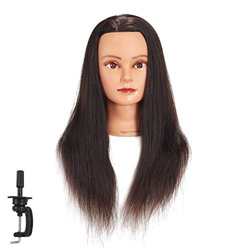 Traininghead 18-20 Female Mannequin Head 100% Human Hair Hairdresser Training Practice Head Cosmetology Manikin Head Doll Head (1711-16)