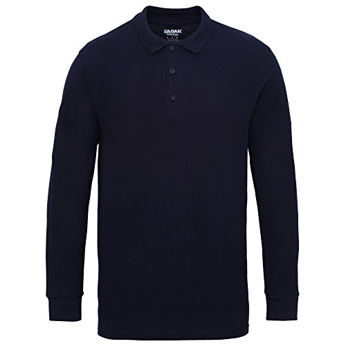 Gildan Mens Long Sleeve Double Pique Cotton Polo Shirt (2XL) (Navy)