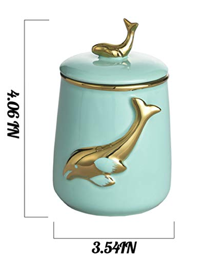 MASMOY Ceramic Storage Jar Skipping Dolphin Canister with Airtight Ceramic Lid, 27.05 FL OZ (800ML) Light BLue Container for Home Serving for Whole Bean Coffee, Pasta, Sugar and More