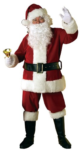 Rubie's 8-Piece Deluxe Velvet Santa Suit With Wig And Beard, Red/White, Standard - Santa Clause Suit