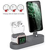 AhaStyle 3 in 1 Charging Stand Dock Silicone Compatible with Apple Watch, AirPods Pro/AirPods/AirPods 2 and All iPhone Models [Original Cables Required-NOT Included] (Dark Grey)