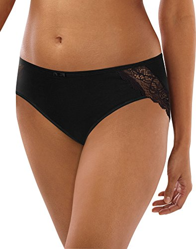 Bali Women's Cotton Desire W/Lace Hipster, Black, 7 (Outlet Beach Long)