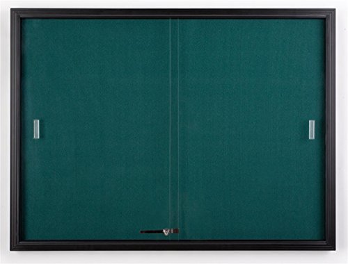 "4' x 3' Teal Fabric Tack board for Wall Mount Use, Locking Sliding Glass Door, 48""w x 36""h Enclosed Bulletin Board for Indoor Use - Black Aluminum with Teal Fabric"