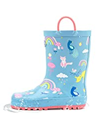 Outee Toddler Kids Printed Rubber Rain Boots