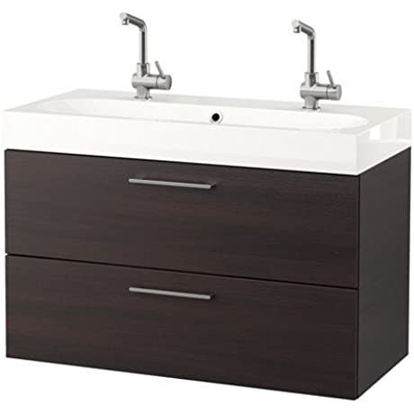 Ikea Sink Cabinet With 2 Drawers Black Brown 39 3 8x19 1 4x26 3 4