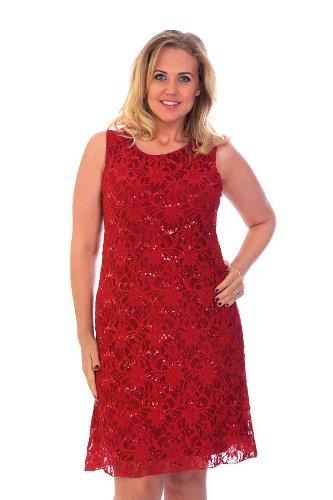 Nouvelle - Tallas grandes mujer vestido de encaje con lentejuelas fiesta noche rojo, tallas 44