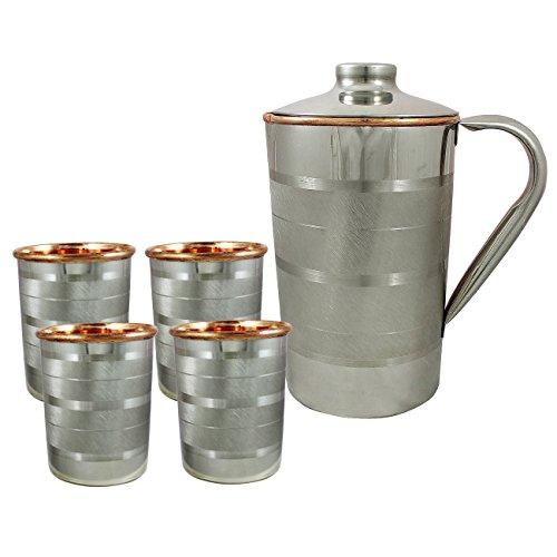 Brown Jug (RoyaltyLane Set Of 4, Water Glasses And A Jug Set, Indian Copper Pitcher Drinkware Set, Outside Steel, Capacity 2 Liters 4 IN)