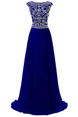 Women's Cap Sleeve Chiffon Beaded Rhinestones A-line Bridesmaid Prom Dress Royal Blue US26W (Beaded Gown Chiffon)