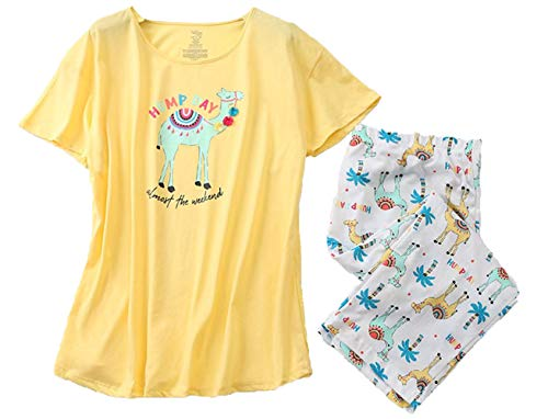 Women's Pajama Sets Capri Pants with Short Tops Cotton Sleepwear Ladies Sleep Sets SY296-Camel-XL
