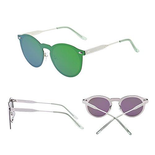 Polarizado Anteojos Plateado Verde Mujer Sol Redondas Polarizadas Hombre Una Gafas Sin Reflexivo Halo Espejo Jim Montura de Pieza qZ7fxa