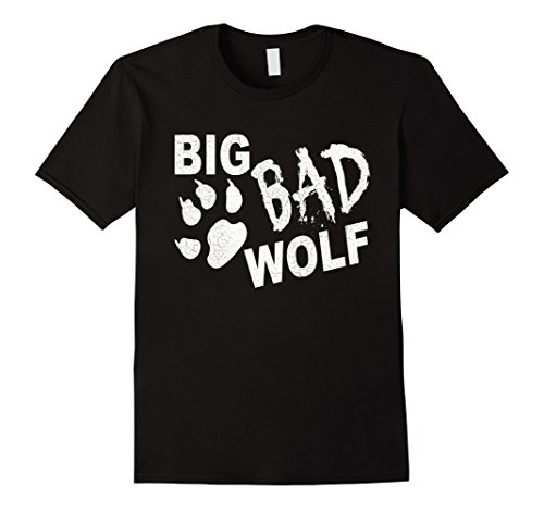 [Men's Big Bad Wolf Paw Distressed White Funny Novelty T Shirt 2XL Black] (Big Bad Wolf Womens Costumes)