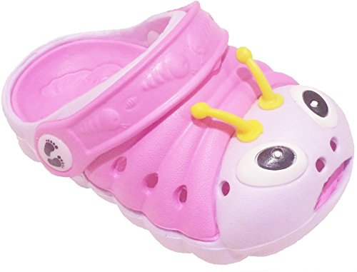 Clogstrom Clogs for Infant or Toddler Boys and Girls Unisex Sandal Animals Shoe (4 Pink/Off-White)