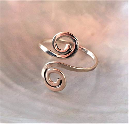 14K Solid Gold Toe,Midi,Knuckle Flattened Spiral Ring