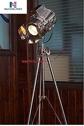 1960 S Vintage Designs Adjustable Theater Searchlight Tripod Floor Lamp Chrome Finish Industrial