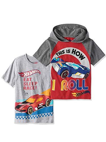 Hot Wheels Boys T-Shirts - 2 Pack of Shirts Boys 'How I Roll Hooded Shirt & 'Eat, Sleep, Race' T-Shirt (7)