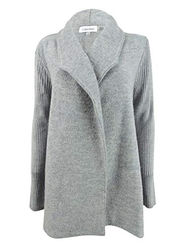 Ribbed Calvin Klein Cardigan (Calvin Klein Women's Ribbed-Sleeve Sweater Jacket (M, Heather Granite))