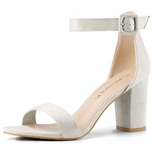 Allegra K Women's Chunky High Heel Ankle Strap Sandals (Size US 11) Grey (Abs Womens Sandals)