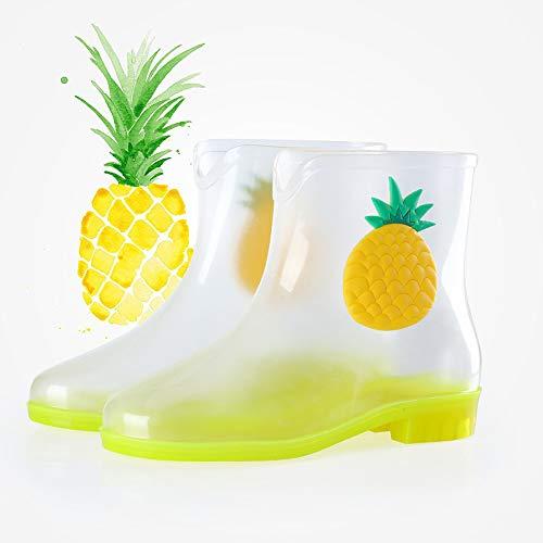 Mujer Frutas Plástico Giow Impermeables Y Transparentes Cortas Botas Antideslizantes De Lluvia Para Yellow Agua pwzqSz8tvr