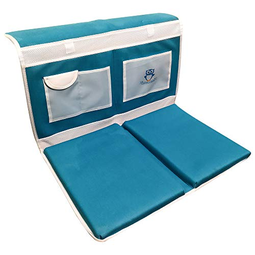 Baby Bath Tub Kneeler with Elbow Rest- Safety Non Slip Heavy Duty Cushioned Knee Saver Mats- A Bathtub Elbow Rest -Mesh Pockets for Baby Accessory Storage Making Bath Time Easy
