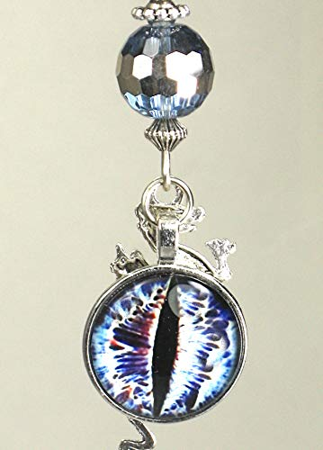 Blue-Eyed Double-Sided Silvery Dragon with Faceted Glass Ceiling Fan Pull