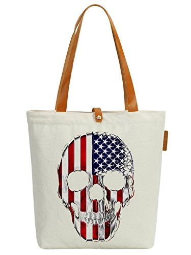 So'each Women's Skull Us Stars Graphic Top Handle Canvas Tote Shoulder Bag