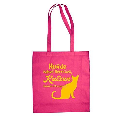 Baumwolltasche Jutebeutel -- Hunde haben Herrchen, Katzen haben Personal Fuchsia-gelb