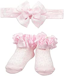 Juicy Couture Baby Girls\' 2 Pieces Gift Box Set-Socks and Headband-Ruffle, Pink, OS
