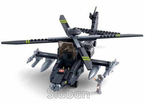 Sluban AH-64 Apachi Helicopter - 293 Pieces in Original English Box 100% Compatible - Educational Toy - Building Blocks (M38-B0511)