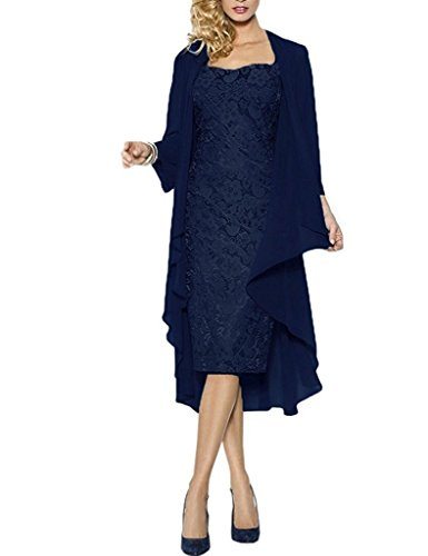 Apxpf Womens Lace Mother Of The Groom Dresses Tea Length With Jacket Navy Us16