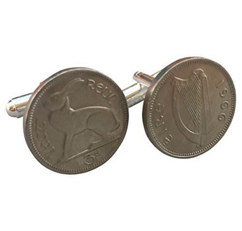 Harp Coin - Ammo Gift Box Irish Harp and Hare 3 Pence Coin Cufflinks