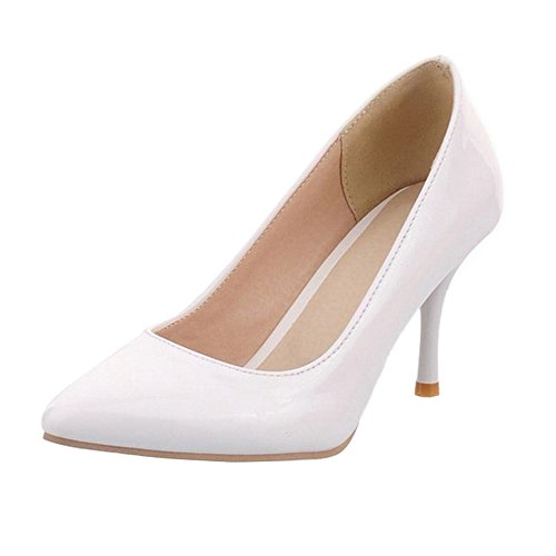 SJJH Mid Thin Heel Court Shoes with Large Size Comfortable Shoes for Fashion Women White DEQ3YEHLyo