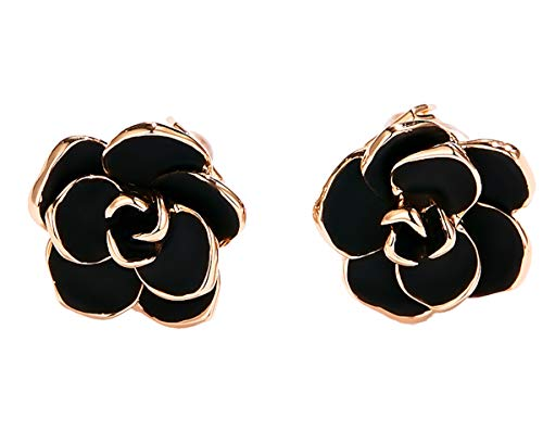 MISASHA Fashion Designer Black Enamel Flower Clip On Earrings