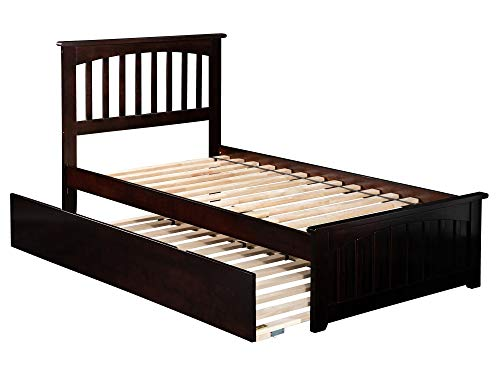 Atlantic Furniture AR8726011 Mission Platform Bed with Matching Foot Board and Twin Size Urban Trundle, Twin, Espresso