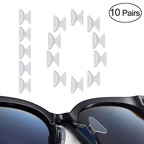 Luff 2.5mm Silicone Nose Pads Non-Slip Soft Adhesive Eyeglasses/Sunglasses/Reading Glasses Pads(10Pairs) (Clear) - Pad Reading