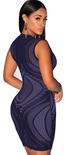 New Ladies Azul Encaje Sin Mangas Mini Vestido De Bodycon Club Wear Party Verano Vestido Talla 10 –�?2