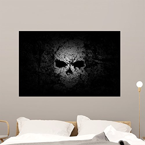 Grunge Skull Dark Wall Mural by Wallmonkeys Peel and Stick Graphic (48 in W x 31 in H) WM237516 by Wallmonkeys Wall Decals