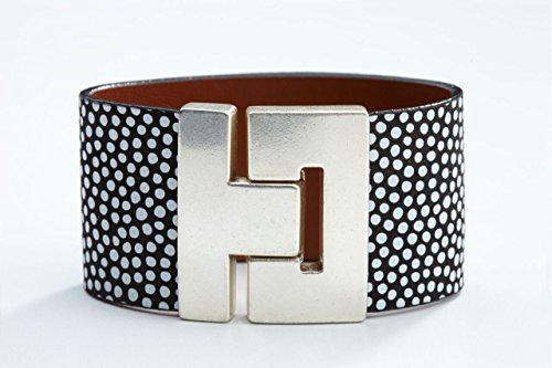 Gold Dot Clasp - Odet Wide Handmade Genuine Leather Bracelet Hepburn Style in Silver Gold Clasp Finish for Women