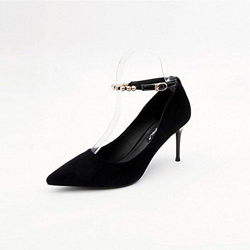 Jqdyl Tacones Spring New High Heels Mujer Invierno Wild Wild Fine Con La Palabra Hebilla Con Un Solo Zapato Black 8cm