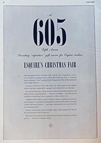 Esquire's Christmas Fair, Vintage Print Ad. 30's B&W Illustration (605 Fifth Avenue, gift service for Esquire readers) Original 1939 Esquire Magazine - Fifth Avenue 605