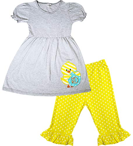 Boutique Toddler Girls Happy Easter One Cute Chick Egg Capri Outfit Set Gray Yellow Dots 2T/S ()