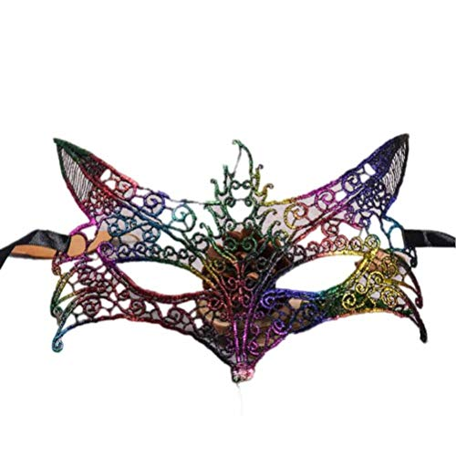 Mysky Exquisite Halloween Fox Shape Hollow Out Lace Masquerade Mask Prom Party Mask Accessories (Multicolor)]()