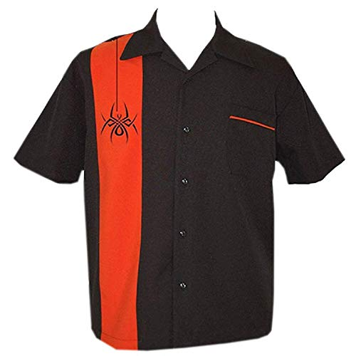 Tattoo Shirt, Black and Orange, Half Sleeve Halloween Bowling Shirt ~ RetroSpider ()