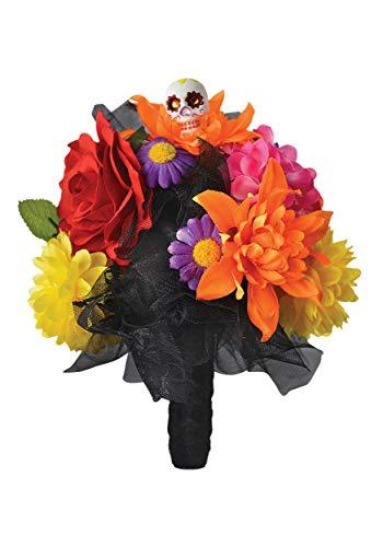 Amscan 843932 Day of The Dead Skull Flower Bouquet, Black, Standard -