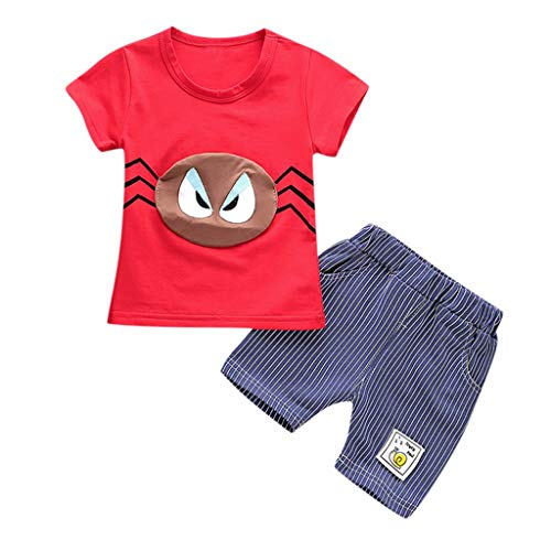 FEITONG Toddler Kids Baby Boys 2PCs Clothes Outfits Set Cartoon T Shirt Striped Shorts (Red,2-3Y ()