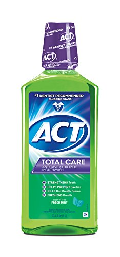 ACT Total Care Anticavity Fluoride Mouthwash Fresh Mint, 33.8-Ounce Bottle (Pack of 3) (Mouthwash Anticavity Fluoride Care)