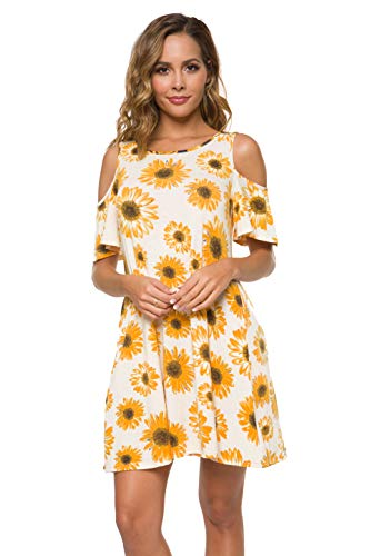Malist Women's Summer Cold Shoulder Tunic Top T-Shirt Swing Dress with Pockets Yellow Flower White Medium