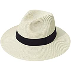 """Women Wide Brim Straw Panama Roll up Hat Fedora Beach Sun Hat UPF50+ Features   """"Lanzom"""" brand registered, all rights reserved.  Breathable Cotton, soft and comfortable to wear  Exquisite workmanship and neat stitching Packable design for eas..."""