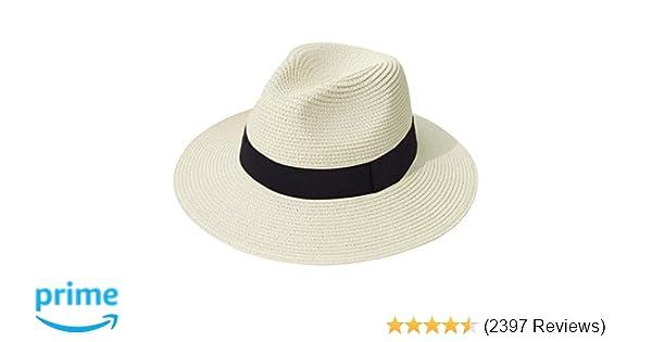 3c905c38bde Lanzom Women Wide Brim Straw Panama Roll up Hat Fedora Beach Sun Hat UPF50+  (A-Beige) at Amazon Women's Clothing store: